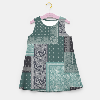 PATCHWORK BANDANA PRINT IN GREEN & AQUA Girl's summer dress thumbnail image