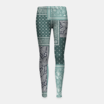 PATCHWORK BANDANA PRINT IN GREEN & AQUA Girl's leggings thumbnail image