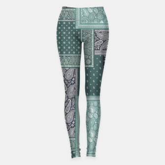 PATCHWORK BANDANA PRINT IN GREEN & AQUA Leggings thumbnail image