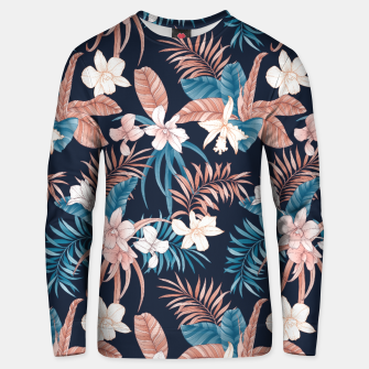 Thumbnail image of TROPICAL ORCHID PRINT IN NAVY Unisex sweater, Live Heroes