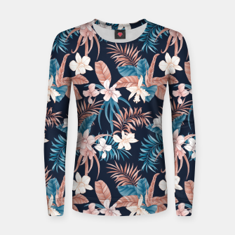 Thumbnail image of TROPICAL ORCHID PRINT IN NAVY Women sweater, Live Heroes