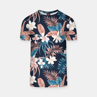 Thumbnail image of TROPICAL ORCHID PRINT IN NAVY T-shirt, Live Heroes