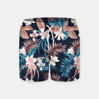 Thumbnail image of TROPICAL ORCHID PRINT IN NAVY Swim Shorts, Live Heroes