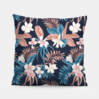 Thumbnail image of TROPICAL ORCHID PRINT IN NAVY Pillow, Live Heroes