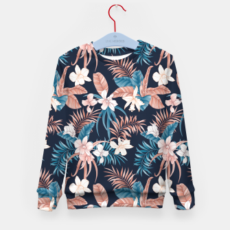 Thumbnail image of TROPICAL ORCHID PRINT IN NAVY Kid's sweater, Live Heroes