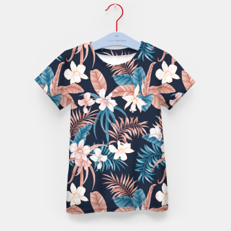 Thumbnail image of TROPICAL ORCHID PRINT IN NAVY Kid's t-shirt, Live Heroes