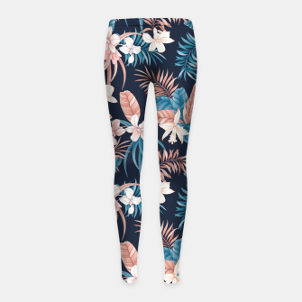 Thumbnail image of TROPICAL ORCHID PRINT IN NAVY Girl's leggings, Live Heroes