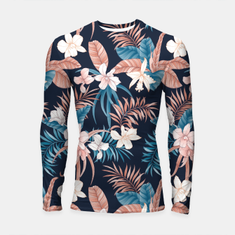 Thumbnail image of TROPICAL ORCHID PRINT IN NAVY Longsleeve rashguard , Live Heroes