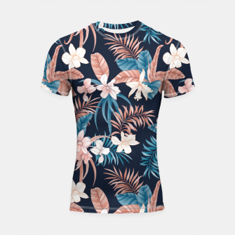 Thumbnail image of TROPICAL ORCHID PRINT IN NAVY Shortsleeve rashguard, Live Heroes