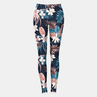 Thumbnail image of TROPICAL ORCHID PRINT IN NAVY Leggings, Live Heroes