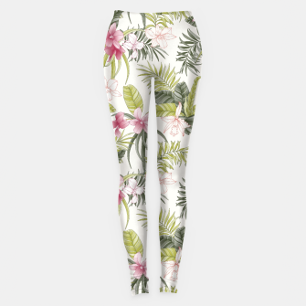 Thumbnail image of TROPICAL ORCHID PRINT IN PINK, GREEN & CREAM Leggings, Live Heroes