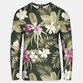 Thumbnail image of TROPICAL ORCHID PRINT IN ARMY GREEN & PINK Unisex sweater, Live Heroes