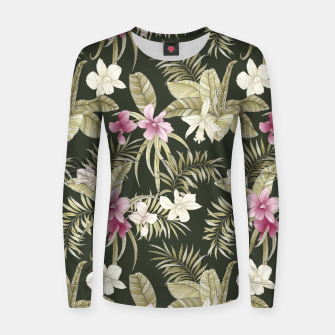 Thumbnail image of TROPICAL ORCHID PRINT IN ARMY GREEN & PINK Women sweater, Live Heroes