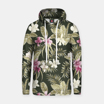 Thumbnail image of TROPICAL ORCHID PRINT IN ARMY GREEN & PINK Hoodie, Live Heroes