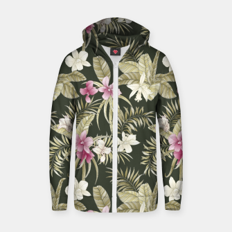 Thumbnail image of TROPICAL ORCHID PRINT IN ARMY GREEN & PINK Zip up hoodie, Live Heroes