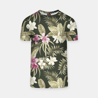 Thumbnail image of TROPICAL ORCHID PRINT IN ARMY GREEN & PINK T-shirt, Live Heroes