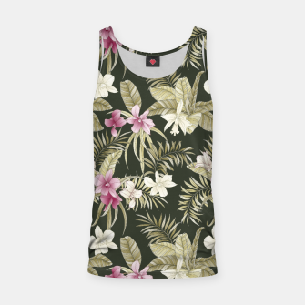 Thumbnail image of TROPICAL ORCHID PRINT IN ARMY GREEN & PINK Tank Top, Live Heroes