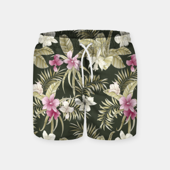 Thumbnail image of TROPICAL ORCHID PRINT IN ARMY GREEN & PINK Swim Shorts, Live Heroes