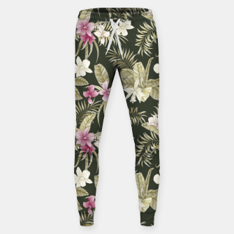 Thumbnail image of TROPICAL ORCHID PRINT IN ARMY GREEN & PINK Sweatpants, Live Heroes