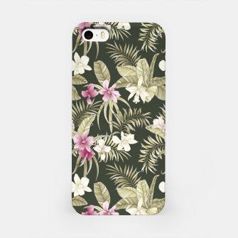 Thumbnail image of TROPICAL ORCHID PRINT IN ARMY GREEN & PINK iPhone Case, Live Heroes