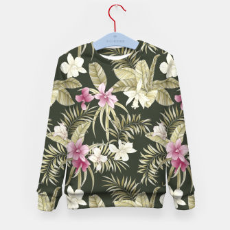Thumbnail image of TROPICAL ORCHID PRINT IN ARMY GREEN & PINK Kid's sweater, Live Heroes