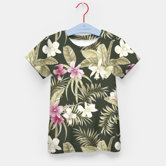 Thumbnail image of TROPICAL ORCHID PRINT IN ARMY GREEN & PINK Kid's t-shirt, Live Heroes