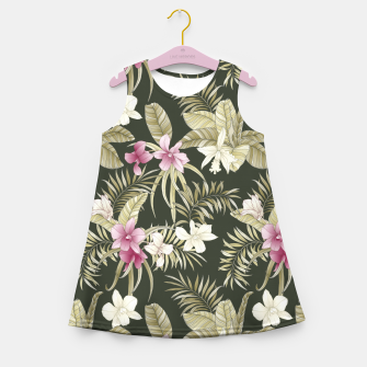 Thumbnail image of TROPICAL ORCHID PRINT IN ARMY GREEN & PINK Girl's summer dress, Live Heroes
