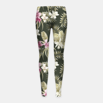 Thumbnail image of TROPICAL ORCHID PRINT IN ARMY GREEN & PINK Girl's leggings, Live Heroes