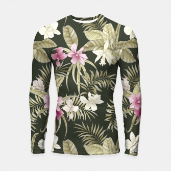 Thumbnail image of TROPICAL ORCHID PRINT IN ARMY GREEN & PINK Longsleeve rashguard , Live Heroes