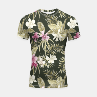 Thumbnail image of TROPICAL ORCHID PRINT IN ARMY GREEN & PINK Shortsleeve rashguard, Live Heroes