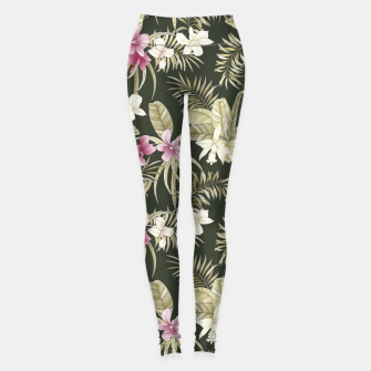Thumbnail image of TROPICAL ORCHID PRINT IN ARMY GREEN & PINK Leggings, Live Heroes