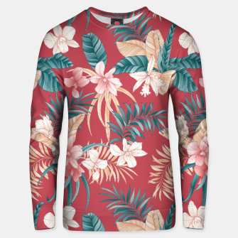 Thumbnail image of TROPICAL ORCHID PRINT IN BRICK RED & TEAL Unisex sweater, Live Heroes