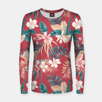 Thumbnail image of TROPICAL ORCHID PRINT IN BRICK RED & TEAL Women sweater, Live Heroes