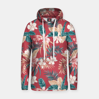 Thumbnail image of TROPICAL ORCHID PRINT IN BRICK RED & TEAL Hoodie, Live Heroes