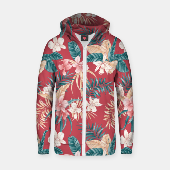 Thumbnail image of TROPICAL ORCHID PRINT IN BRICK RED & TEAL Zip up hoodie, Live Heroes