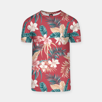 Thumbnail image of TROPICAL ORCHID PRINT IN BRICK RED & TEAL T-shirt, Live Heroes