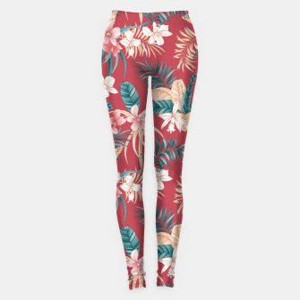 Thumbnail image of TROPICAL ORCHID PRINT IN BRICK RED & TEAL Leggings, Live Heroes