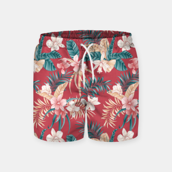 Thumbnail image of TROPICAL ORCHID PRINT IN BRICK RED & TEAL Swim Shorts, Live Heroes
