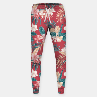 Thumbnail image of TROPICAL ORCHID PRINT IN BRICK RED & TEAL Sweatpants, Live Heroes