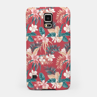 Thumbnail image of TROPICAL ORCHID PRINT IN BRICK RED & TEAL Samsung Case, Live Heroes