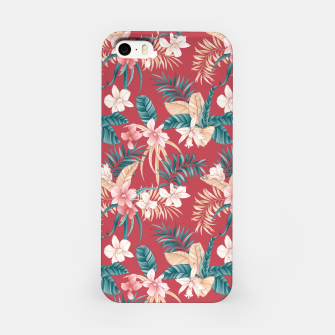 Thumbnail image of TROPICAL ORCHID PRINT IN BRICK RED & TEAL iPhone Case, Live Heroes
