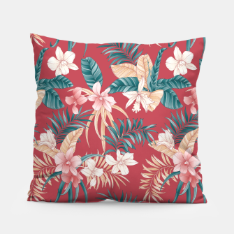 Thumbnail image of TROPICAL ORCHID PRINT IN BRICK RED & TEAL Pillow, Live Heroes