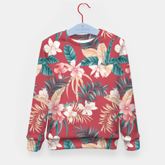 Thumbnail image of TROPICAL ORCHID PRINT IN BRICK RED & TEAL Kid's sweater, Live Heroes