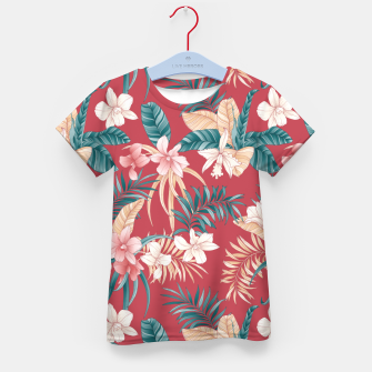 Thumbnail image of TROPICAL ORCHID PRINT IN BRICK RED & TEAL Kid's t-shirt, Live Heroes