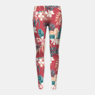 Thumbnail image of TROPICAL ORCHID PRINT IN BRICK RED & TEAL Girl's leggings, Live Heroes