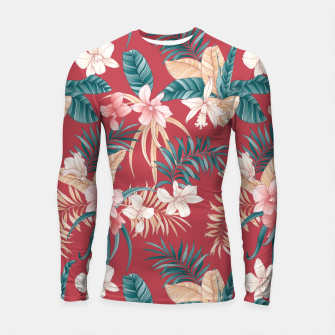 Thumbnail image of TROPICAL ORCHID PRINT IN BRICK RED & TEAL Longsleeve rashguard , Live Heroes