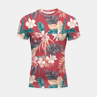 Thumbnail image of TROPICAL ORCHID PRINT IN BRICK RED & TEAL Shortsleeve rashguard, Live Heroes