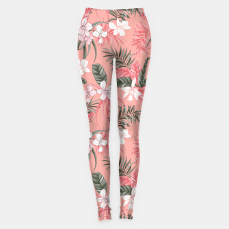 Thumbnail image of TROPICAL ORCHID PRINT IN CORAL & PINK Leggings, Live Heroes