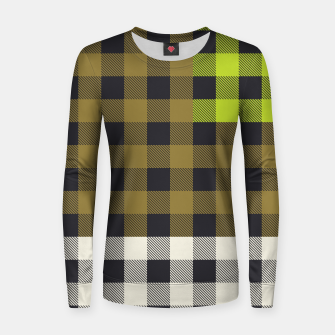 Thumbnail image of PATCHWORK BUFFALO CHECK IN ARMY GREEN Women sweater, Live Heroes