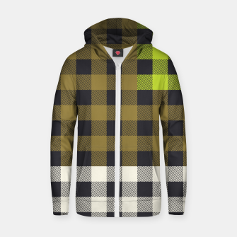 Thumbnail image of PATCHWORK BUFFALO CHECK IN ARMY GREEN Zip up hoodie, Live Heroes